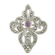 Sterling Silver Fancy Marcasite and Amethyst Brooch